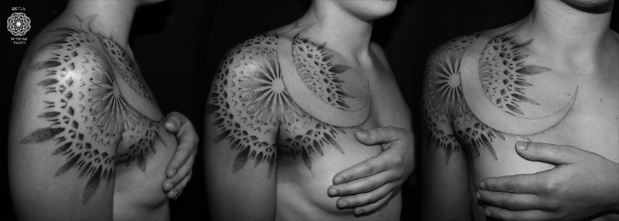 dotwork tattoo mandala sun moon tattoo qkila nimes les tatoués anonymes ink