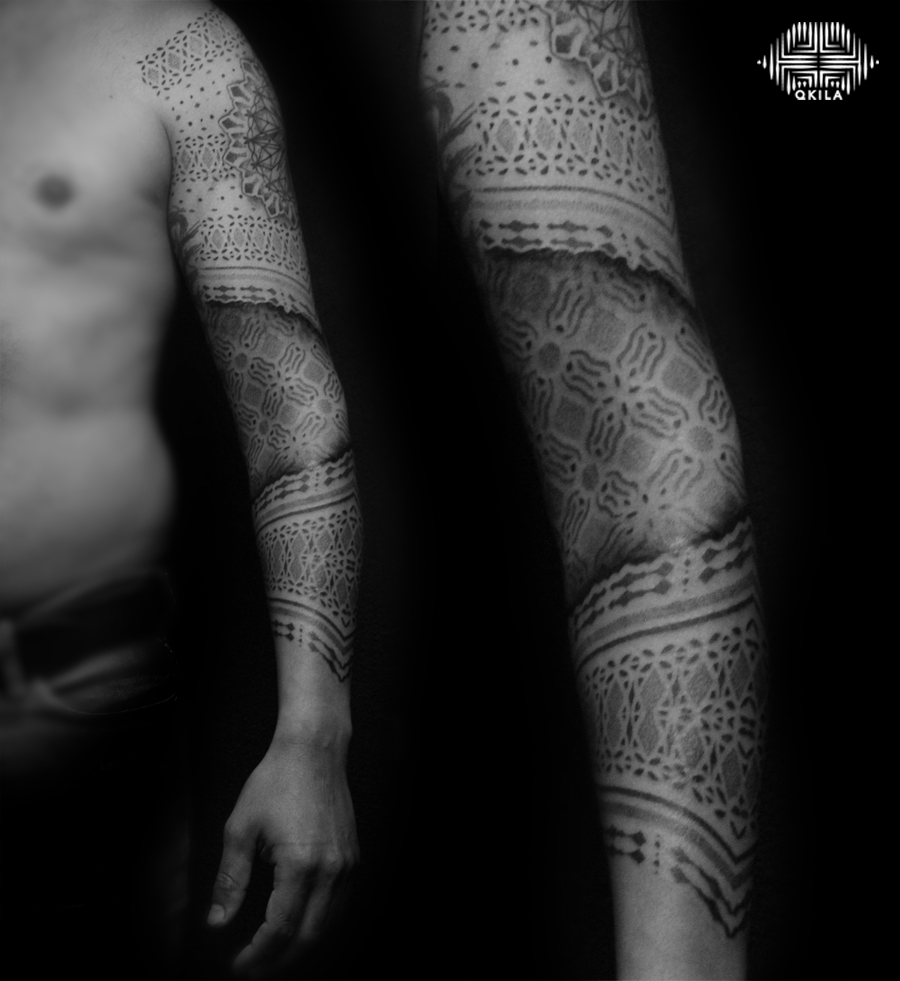 q,patterns tattoo,op art, sleeves tattoo, dotwork tattoo, qkila,geometric tattoo, ethnique tattoo, les tatoués anonymes, nimes