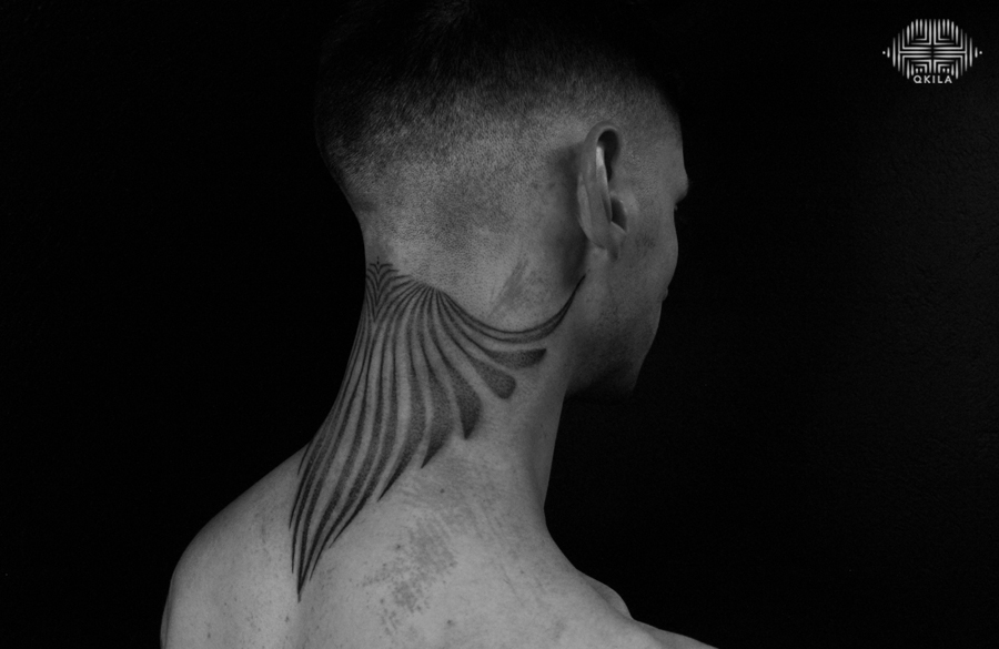 qkila, neck tattoo , ornemental tattoo, les tatoués anonymes, nimes