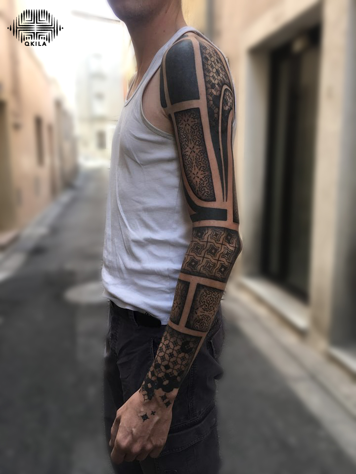terance full les tatoués anonymes,patterns tattoo,op art, sleeves tattoo, dotwork tattoo, qkila,geometric tattoo, ethnique tattoo, les tatoués anonymes, nimes
